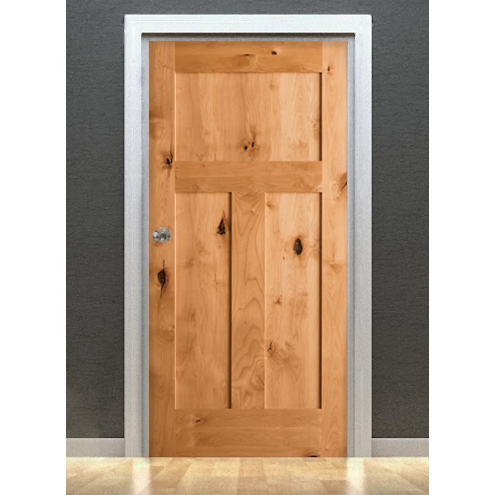 Krosswood Doors 18 In X 80 In Craftsman Shaker Knotty Alder 3 Panel Solid Wood Core Right Hand Single Prehung Interior Door Ka 325 16 68 138 Rh The Home Depot