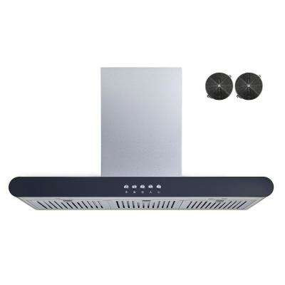36 in. Convertible Wall Mount Range Hood in Stainless Steel with Push Button Control and Carbon Filters
