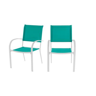 Mix and Match Stationary Stackable Steel Split Back Sling Outdoor Patio Dining Chair in Emerald Coast Green (2-Pack)