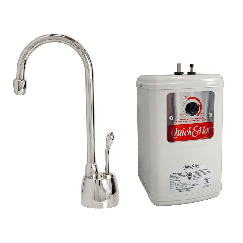 null Single-Handle Hot Water Dispenser Faucet with Heating Tank in Polished Nickel