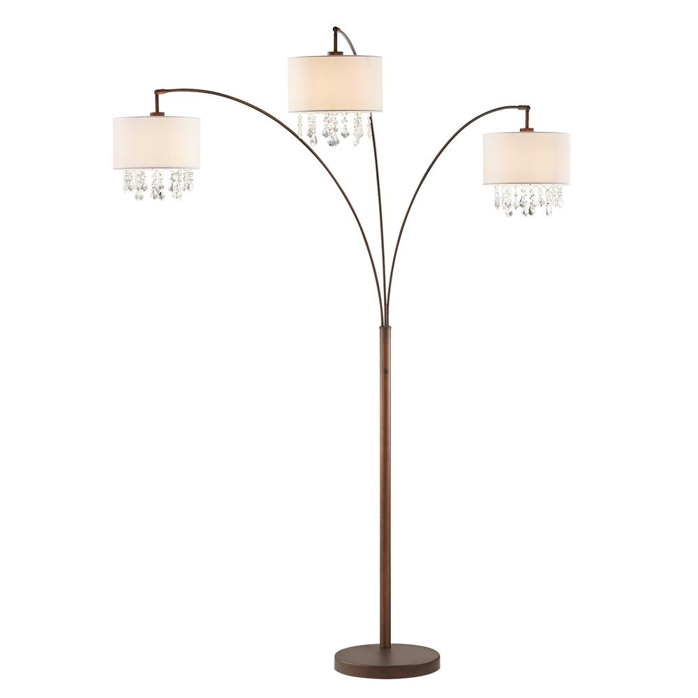ARTIVA Lumiere IV 80 in.  Antique Bronze LED Crystal Arc Floor lamp/Dimmer