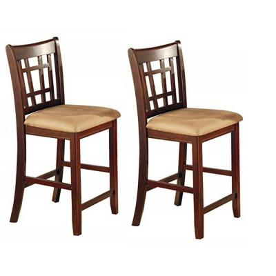Lavon 24 in. 2-Piece Tan and Brown Counter Stools