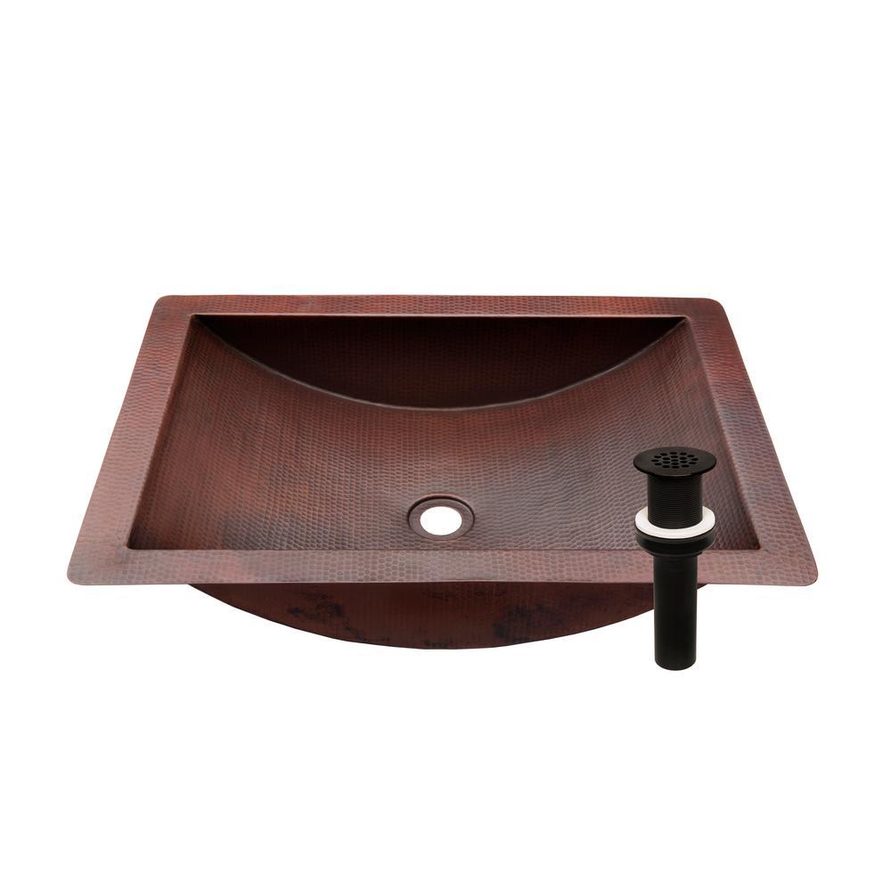 Merida Copper Bathroom Sink in Antique Copper and Oil Rubbed Bronze Strainer Drain, Undermount/Drop-in