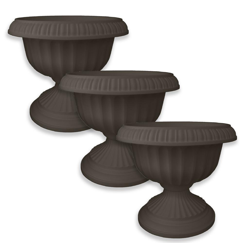 12 in. x 10.5 in. Peppercorn Grecian Plastic Urn Planter (3-Pack)