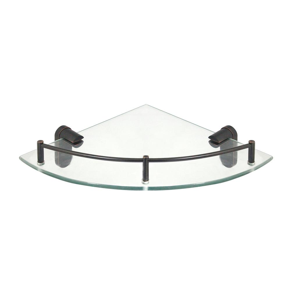 Modona Oval 10 5 In X Gl Corner Shelf With Pre Installed Rail Rubbed Bronze