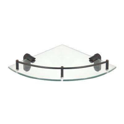 Oval 10.5 in. x 10.5 in. Glass Corner Shelf with Pre-Installed Rail in Rubbed Bronze