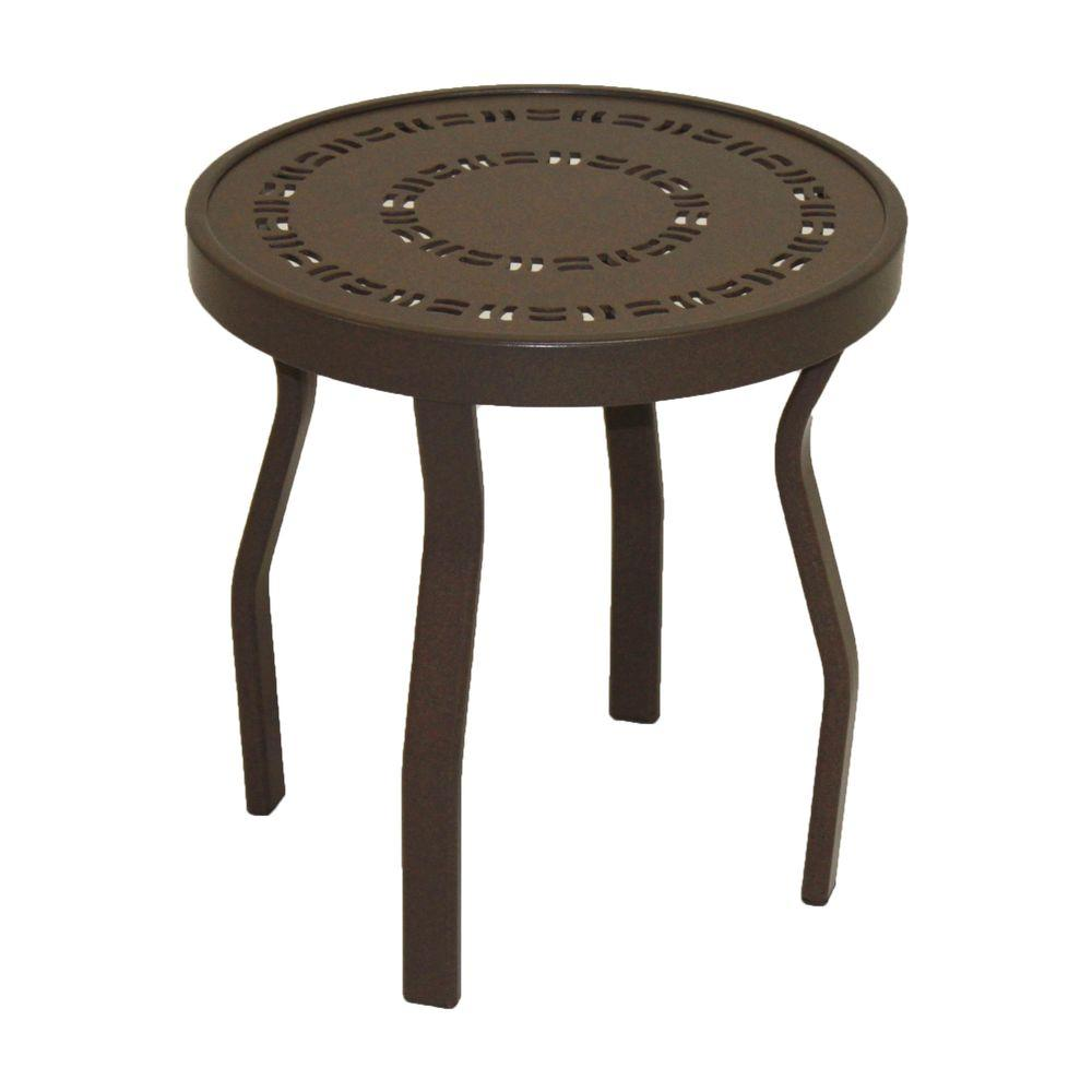 Marco Island 18 in. Dark Cafe Brown Round Commercial Aluminum Outdoor