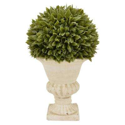 10.5 in. x 10.5 in. Green Faux Boxwood Pot
