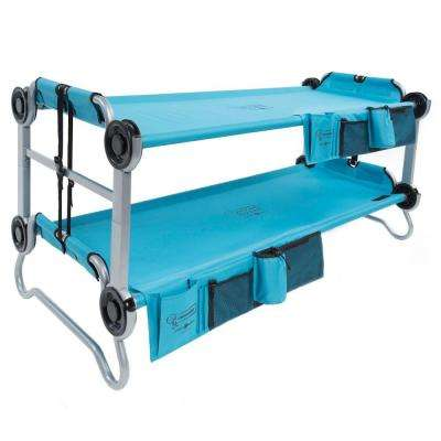 Kid-O-Bunk 65 in. Teal Blue Bunk Beds with Organizers