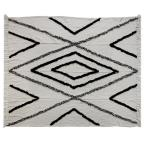 Geometric Aztec Fringed Natural / Navy Decorative Cotton Throw Blanket