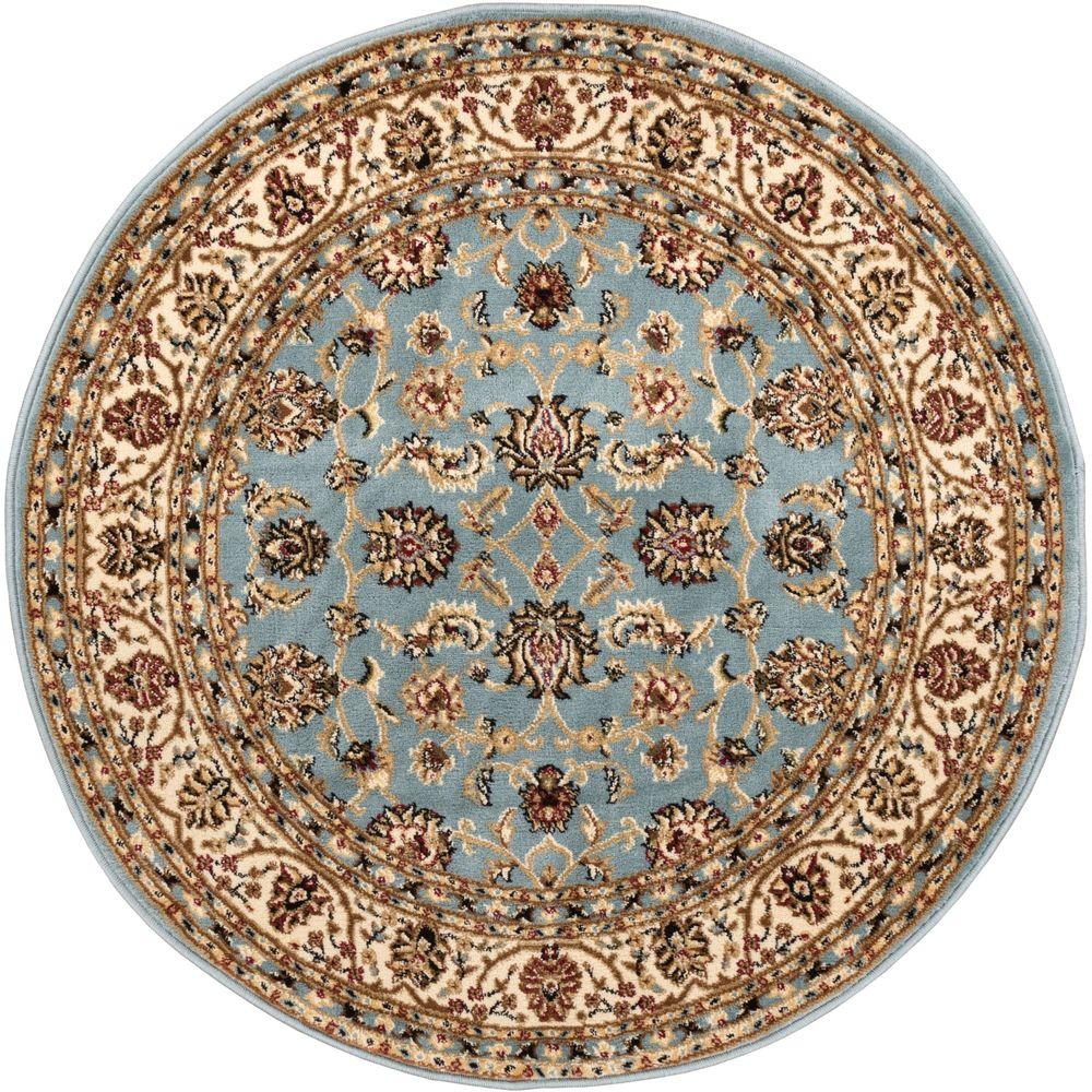 Well Woven Barclay Sarouk Light Blue 4 Ft. X 4 Ft. Round Area Rug