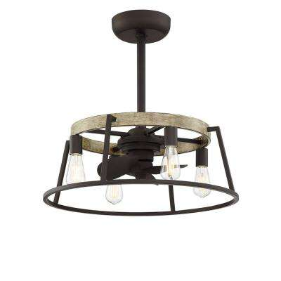 Bridgetown 17 in. Indoor Aged Bronze Ceiling Fan with Light and Remote Control