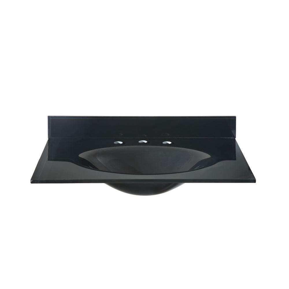 black vanity with sink. Hembry Creek 31 in W  Tempered Glass Vanity Top Black with Basin
