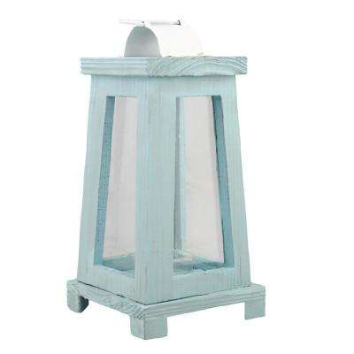 11 in. Blue Worn Painted Wood Lantern