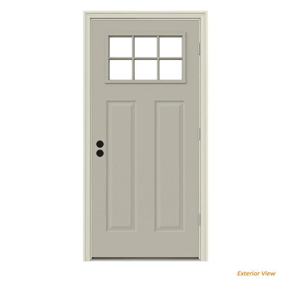30 in. x 80 in. 6 Lite Craftsman Desert Sand Painted Steel Prehung Left-Hand Outswing Front Door w/Brickmould