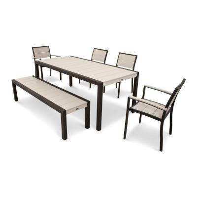 Surf City Textured Bronze 6-Piece Plastic Outdoor Patio Dining Set with Sand Castle Slats