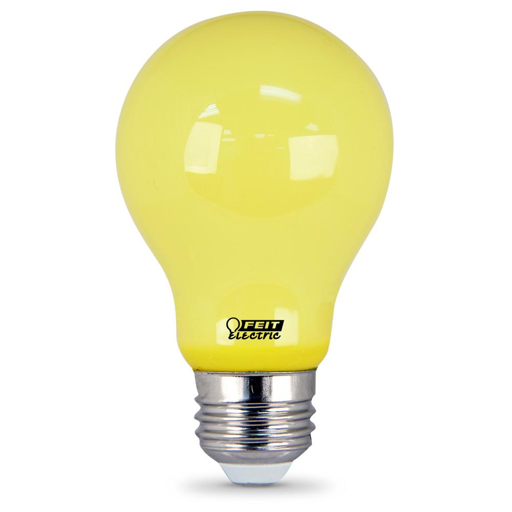 Feit Electric 5-Watt A19 60-Watt Equivalent Medium E26 Base Non-Dimmable Yellow Colored LED Bug Light Bulb