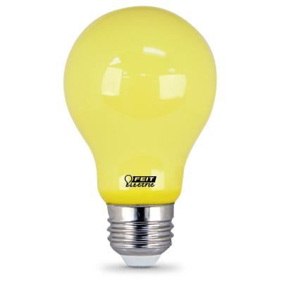 60-Watt Equivalent A19 5-Watt Medium E26 Base Non-Dimmable Yellow Colored Bug LED Light Bulb