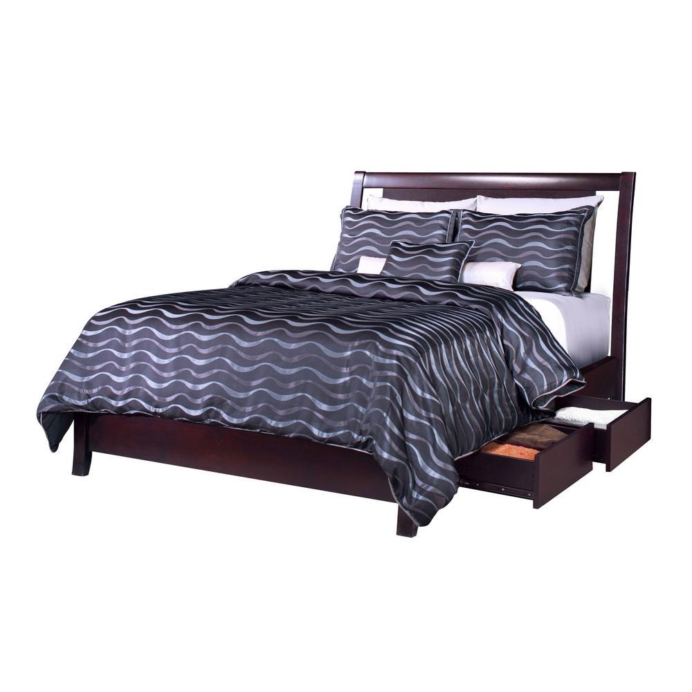 Nevis Dark Wood Espresso King Storage Bed with 4-Drawers