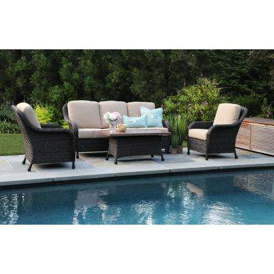 Sycamore 4-Piece Resin Wicker Patio Deep Seating Set with Sunbrella Canvas Heather Beige Cushions