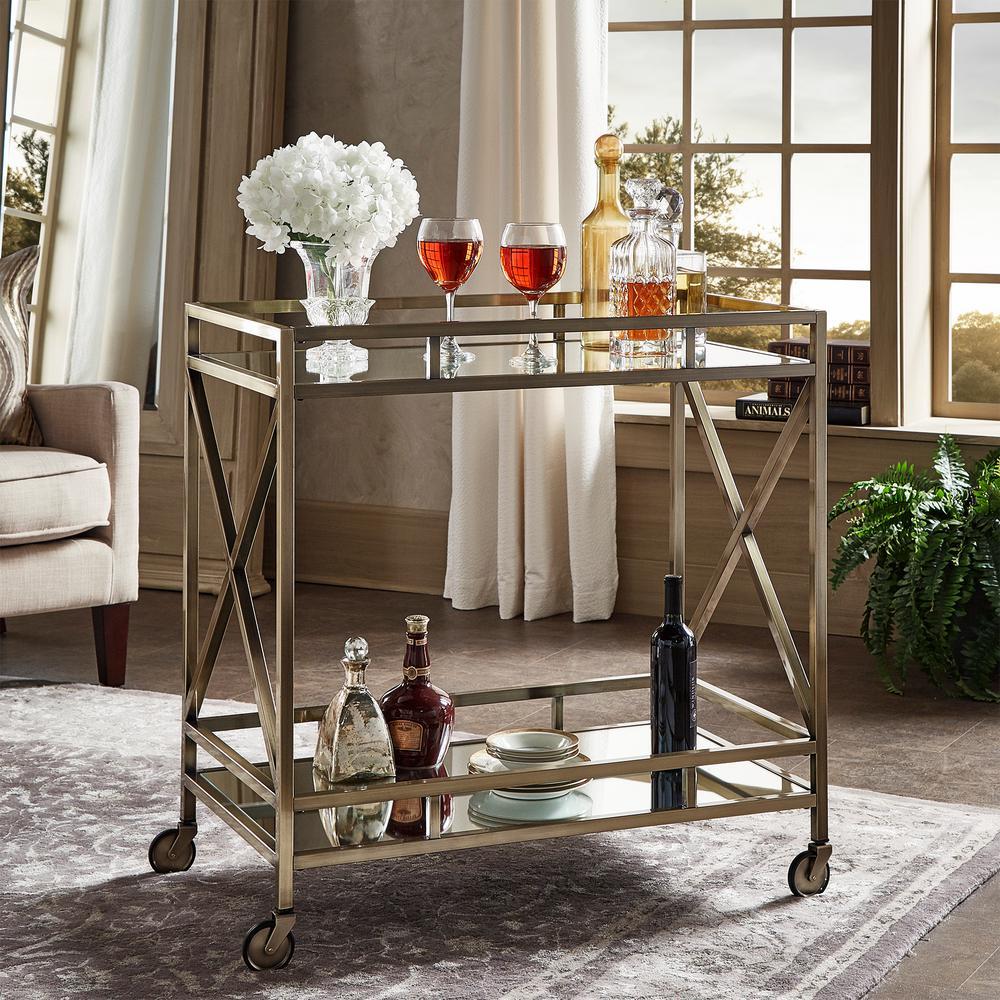 Homesullivan Allie Antique Brass Bar Cart 40621abs 07 The Home Depot