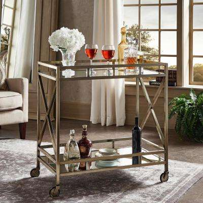 Allie Antique Brass Bar Cart