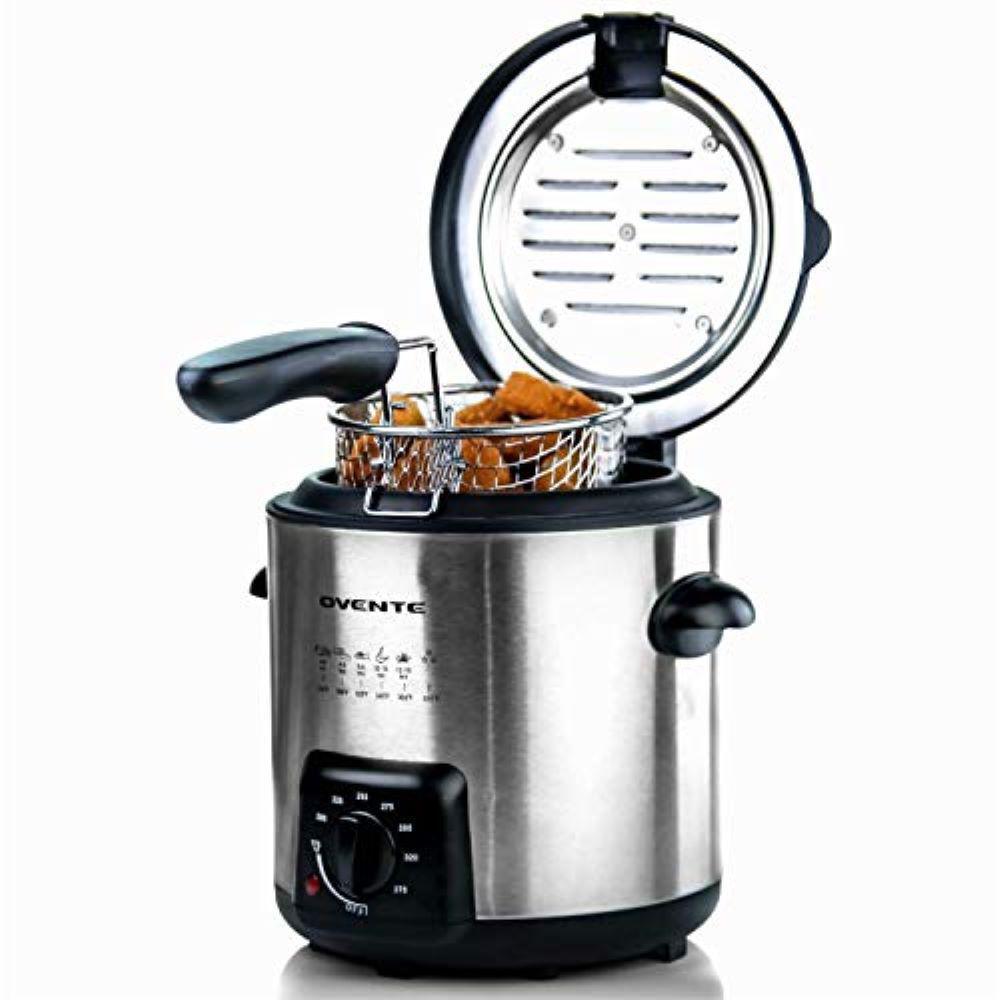 0.9 Qt. Nickel Brushed Mini Deep Fryer with Removable Basket