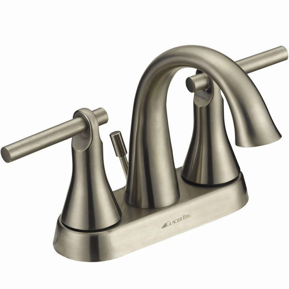 Glacier Bay Toomba 4 in. 2-Handle High Arc Bathroom Faucet in Brushed Nickel-DISCONTINUED