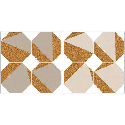 24 in. x 12 in. Cream and Taupe Octagon Cork Organizer Shapes