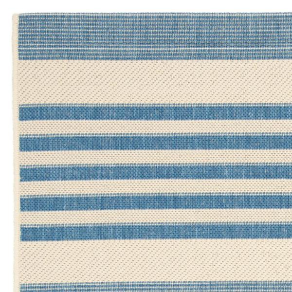 Safavieh Courtyard Beige Blue 8 Ft X 8 Ft Indoor Outdoor Square Area Rug Cy6062 233 8sq The Home Depot