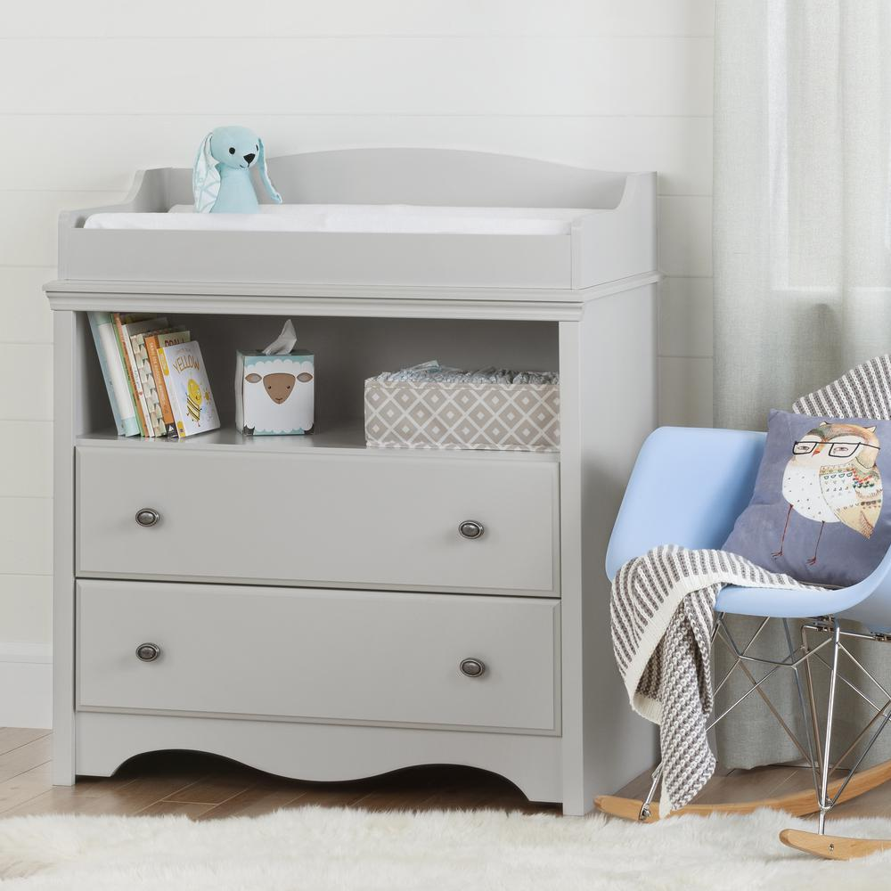 Delightful South Shore Angel 2 Drawer Soft Gray Changing Table
