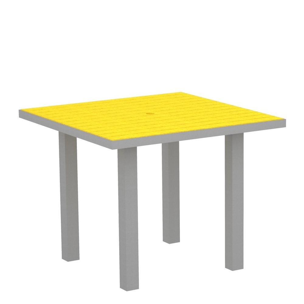 POLYWOOD Euro Textured 36 in. Silver Square Patio Dining Table with Lemon Top