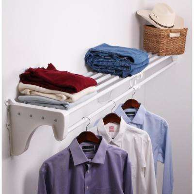 12 in. D x 30 in. to 50 in. W x 10.5 in. H Expandable White Steel Tubes with 2 End Brackets Shelf and Rod Closet System
