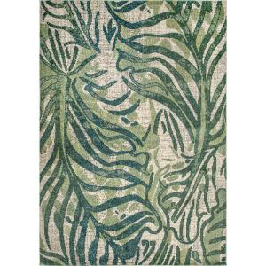 Cali Abstract Leaves Green 10 ft. x 14 ft. Area Rug