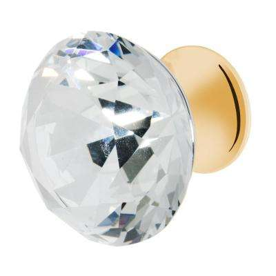Nina 1-3/8 in. Polished Gold with Clear Crystal Cabinet Knob