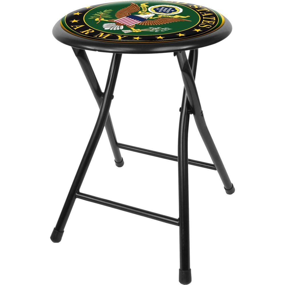 Trademark Us Army Symbol 18 In Black Cushioned Folding Bar Stool