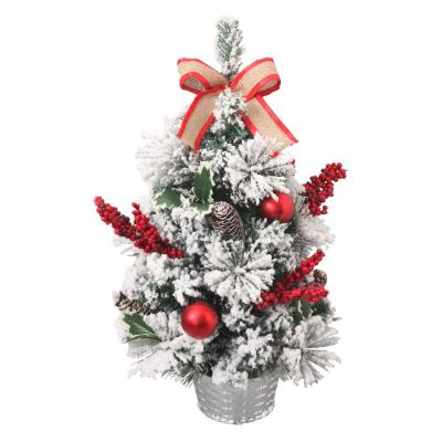 2 ft. Unlit Flocked Artificial Christmas Tree with Burlap Bow