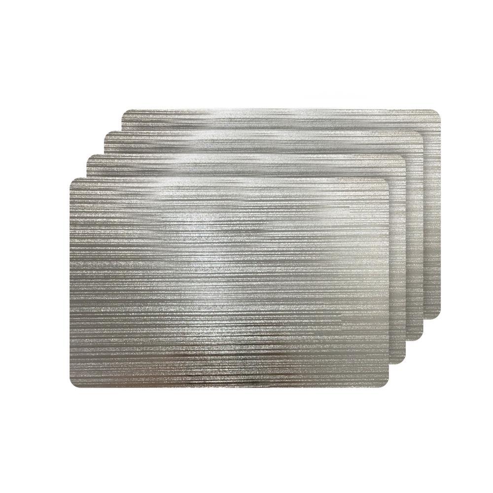 Emery Silver Metallic Reversible Rectangular Placemats (Set of 4)