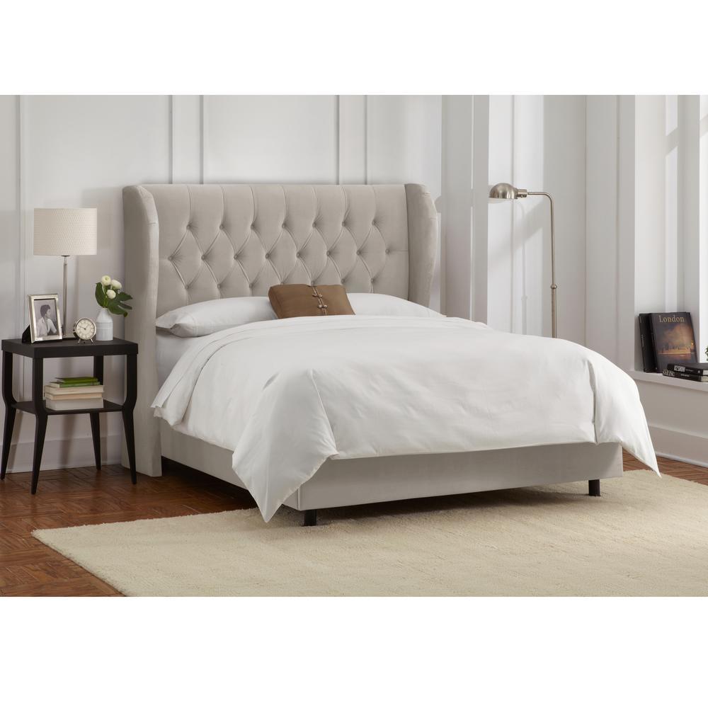 Preston Velvet Light Grey California King Tufted Wingback Bed