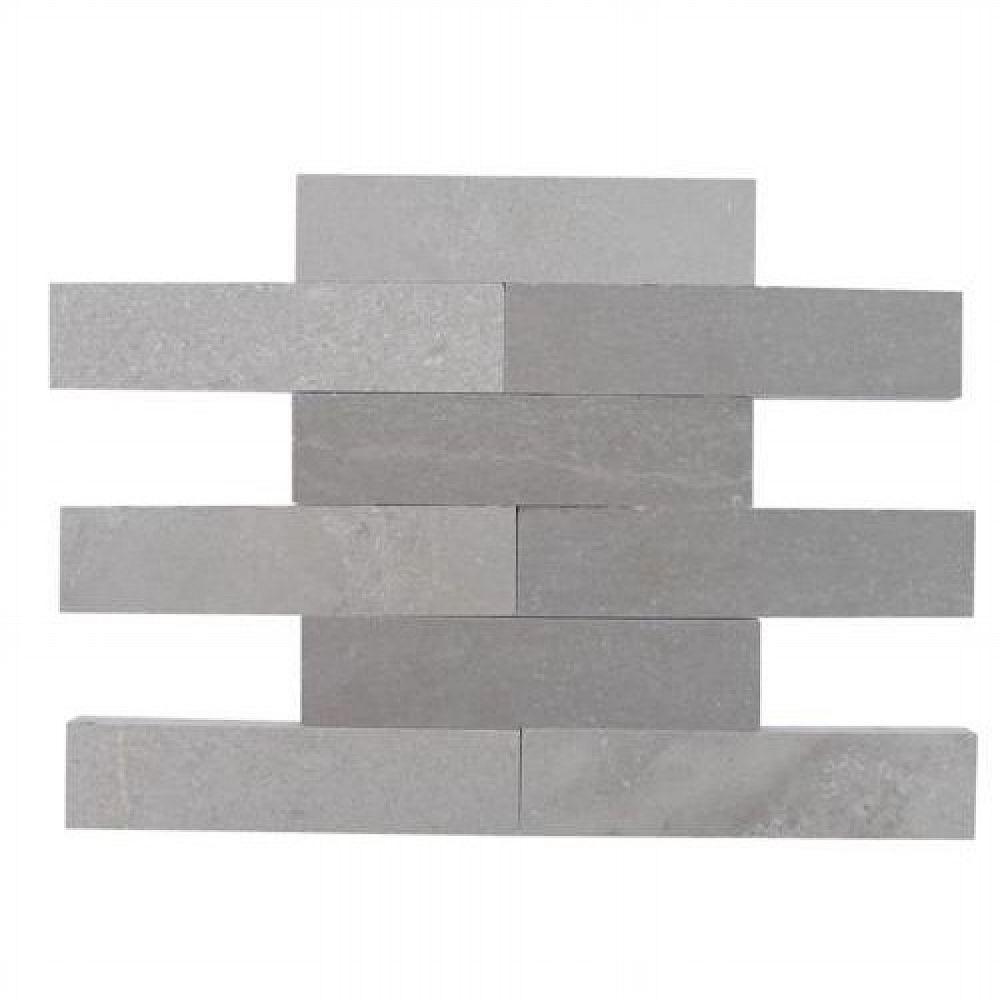 Brushed Lady Gray Marble Mosaic Tile - 2 in. x 8
