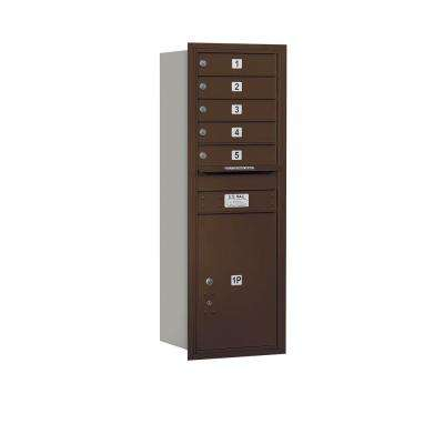 48 in. H x 16-3/4 in. W Bronze Rear Loading 4C Horizontal Mailbox with 5 MB1 Doors/1 PL6