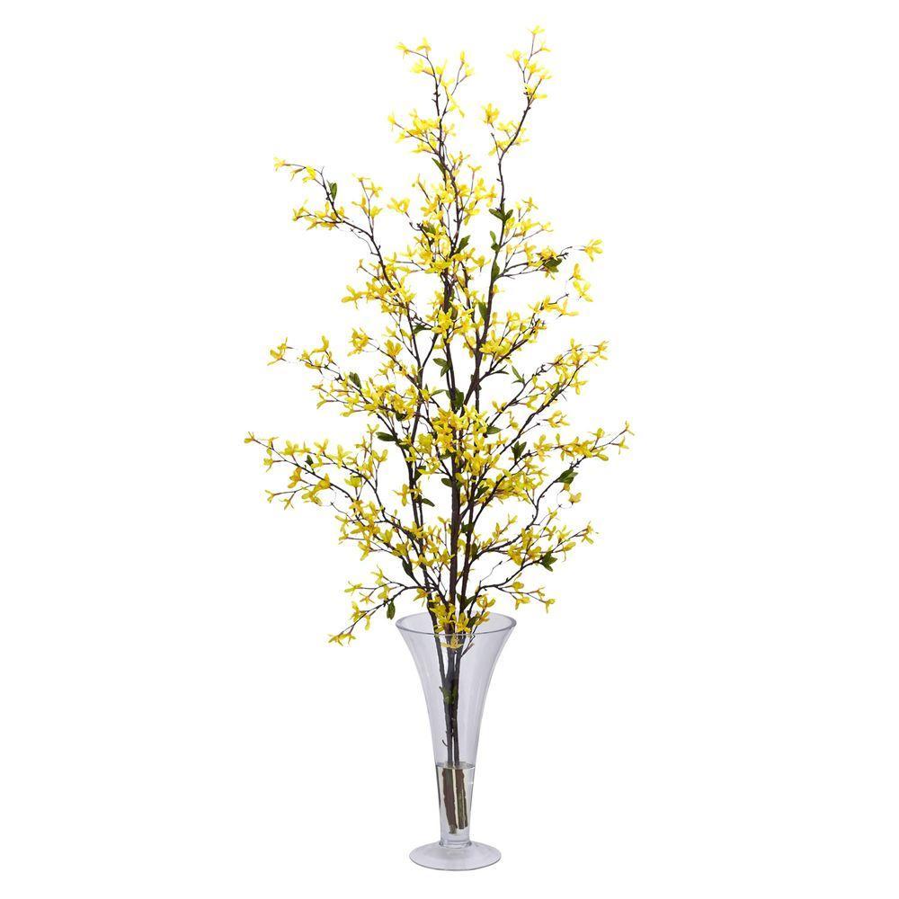 45 in. H Yellow Forsythia with Vase Silk Flower Arrangement