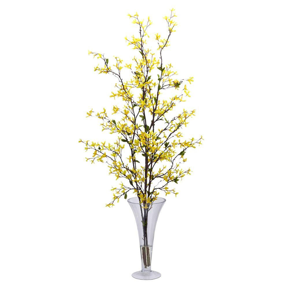 Nearly Natural 45 in. H Yellow Forsythia with Vase Silk Flower Arrangement