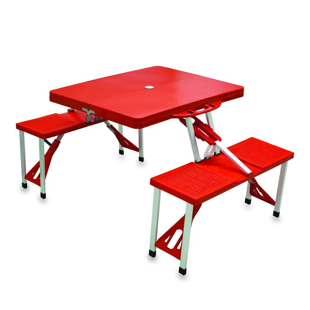 Picnic Time Portable Folding Red Plastic Outdoor Patio Table With Seats
