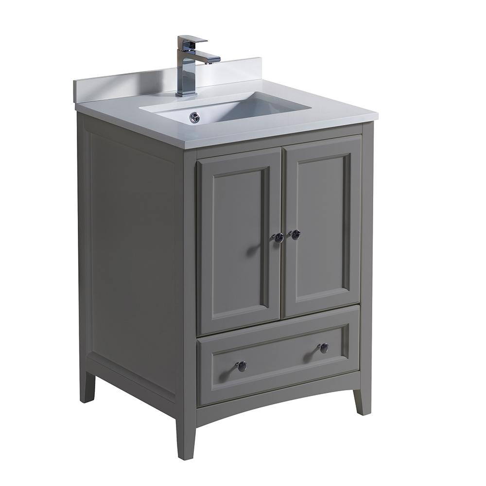 Oxford 24 in. Traditional Bathroom Vanity in Gray with Quartz Stone