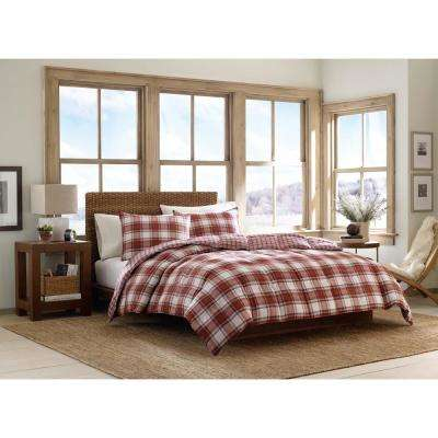 Edgewood 3-Piece Red King Duvet Cover Set