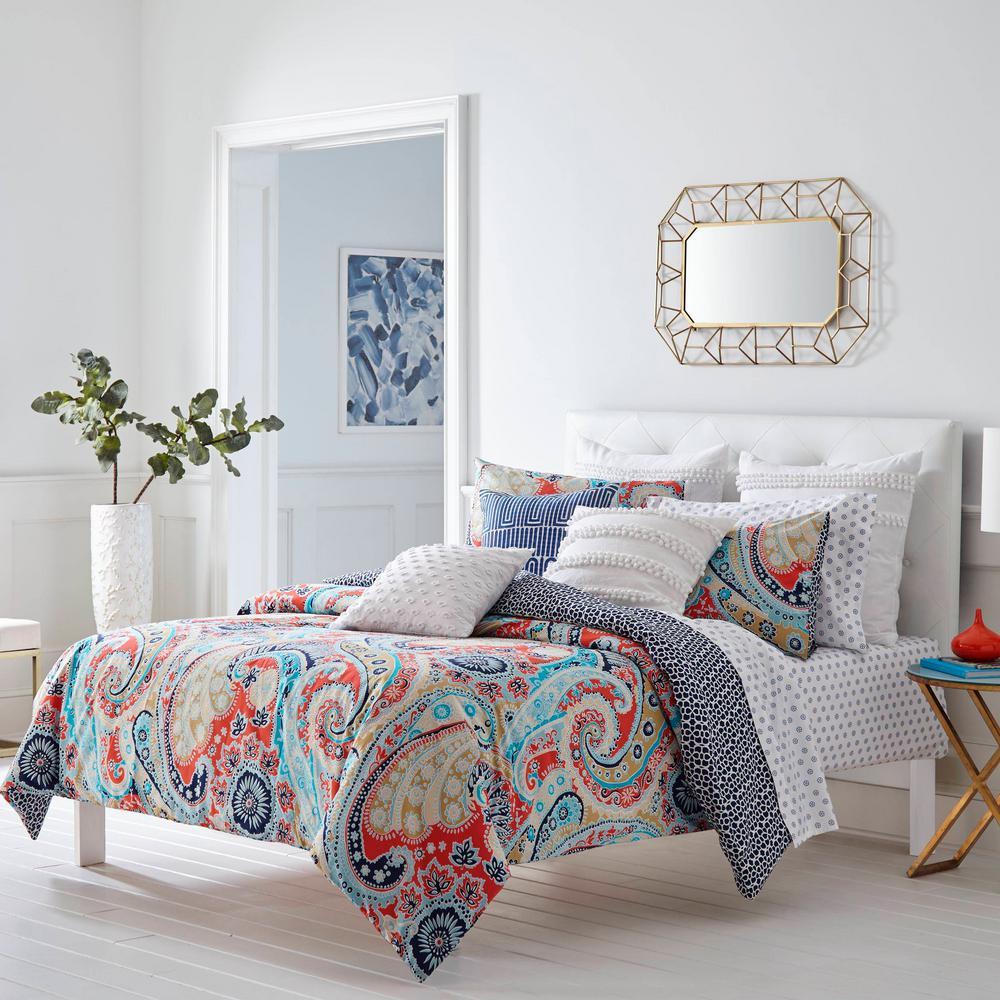 Mirage Paisley Coral 2-Piece Cotton Twin Comforter/Sham Set