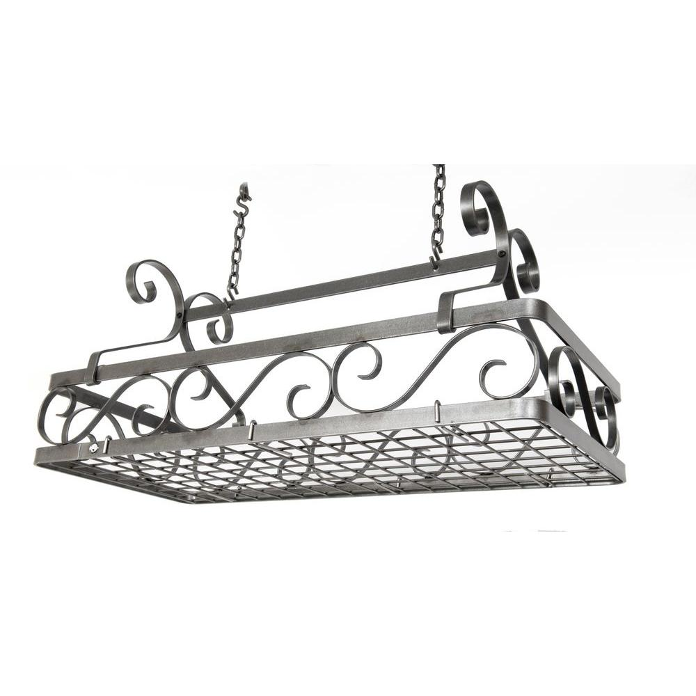 Large Decor Basket Ceiling Pot Rack in Hammered Steel