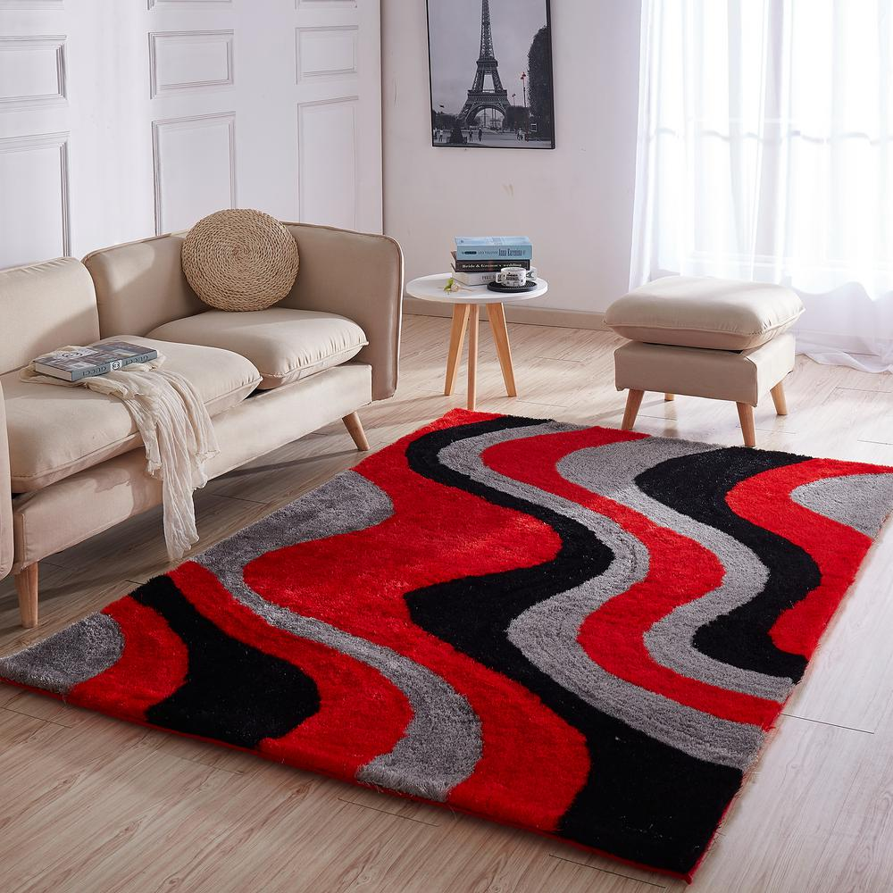 Casa Regina Shaggy Collection 3d Design Abstract Waves Red Black