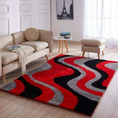 Casa Regina Shaggy Collection 3D Design Abstract Waves Red Black Soft Shag 5 ft. x 7 ft. Area Rug